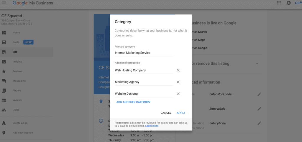 Adding Categories to Your Google Listing
